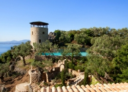 Tower and sea views at Del Cielo villa Corfu