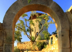 Tower and stone archway at Villa del Cielo Corfu