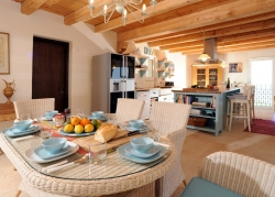 Indoor dining area at Villa Del Cielo, Corfu