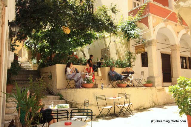A quiet cafe in Corfu town