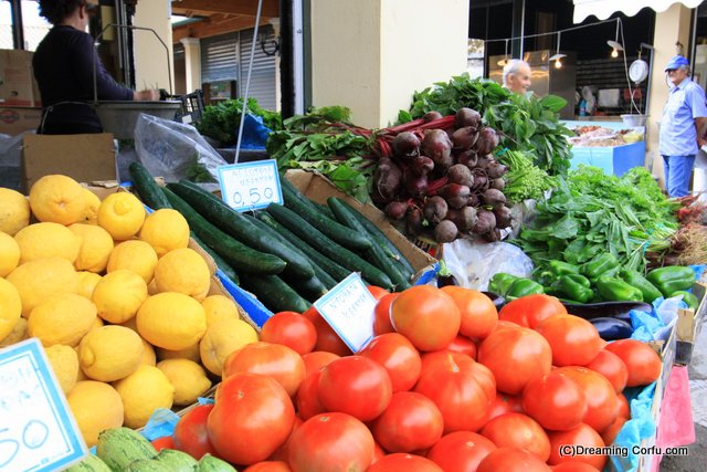 Visiting the fresh food market in Corfu